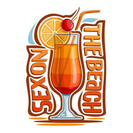 Vektor-Illustration von Alkohol Cocktail Sex am Strand: Glas mit überlagertem tropischen Cocktail im Sommer, Logo mit Schriftzug Schriftzug - Sex am Strand, exotische orange Longdrink auf weißem Hintergrund. Standard-Bild - 80922522