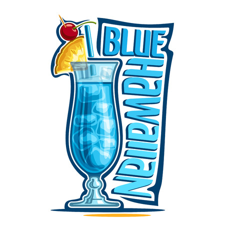 Vector illustration of alcohol Cocktail Blue Hawaiian: fruit garnish on glass of tropical cocktail with blue curacao liquor, logo with title - blue hawaiian, hawaii mocktail drink with cubes of ice.