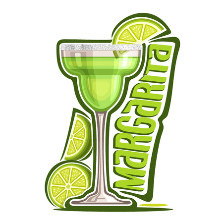 Vector illustration of alcohol Cocktail Margarita: garnish of sliced ??lime and salt on glass of mexican tequila cocktail, logo with green title - margarita, classic mocktail drink on white background. Çizim