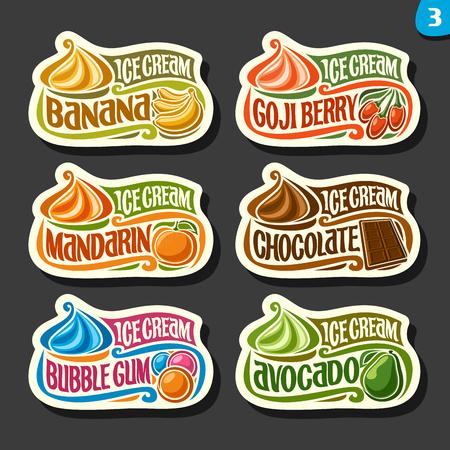 Vector set of fruit Ice cream labels: 6 logos of different flavor italian icecream dessert, six art icons with title - ice cream, on black background, soft mixed gelato ice cream served of swirl cone. Vettoriali