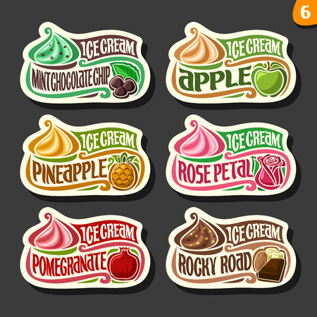 Vector set of fruit Ice cream labels: 6 logos of different flavor italian icecream dessert, six art icons with title - ice cream, on black background, soft mixed gelato ice cream served of swirl cone. Illustration