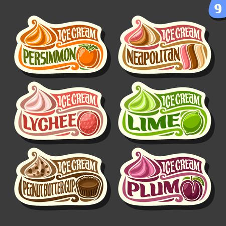 Vector set of fruit Ice cream labels: 6 logos of different flavor italian icecream dessert, six art icons with title - ice cream, on black background, soft mixed gelato ice cream served of swirl cone. Stock Illustratie