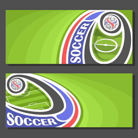 soccer goal: Vector Banners for Soccer: 2 layouts for title on soccer theme, green grass football field top view, soccer ball flying on a curve trajectory in goal,