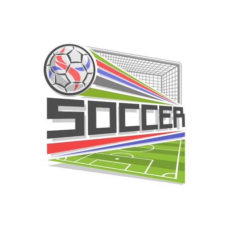 soccer goal: Vector logo for Soccer game, icon in shape of rhombus for football club, ball flying above sports field in goal with ball, net, modern sign with soccer ball, design badge for soccer academy or school.