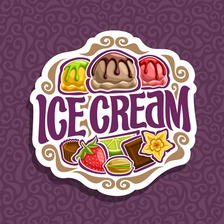 Vector logo for Ice Cream: 3 colorful scoop balls of ice cream topping melted chocolate sauce, in sign lettering title.