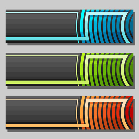 Vector set of Banner templates: 3 colorful futuristic headers with curve element on gray background. Иллюстрация
