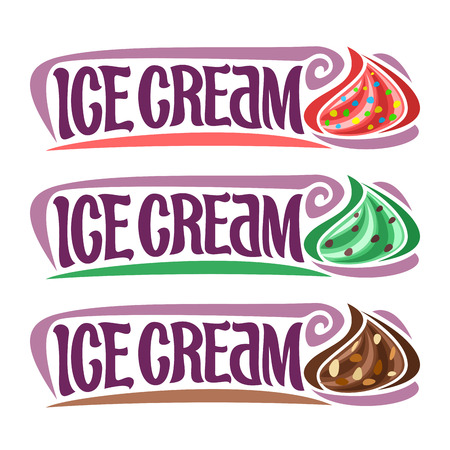 piece: Vector set labels for Ice Cream: 3 vintage stickers for red gelato with sprinkles, green mint chocolate chip.
