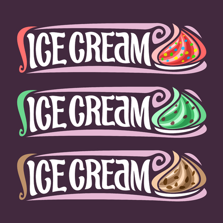 piece: Vector set labels for Ice Cream: 3 colorful vintage stickers for red bubble gum, mint chocolate chips.