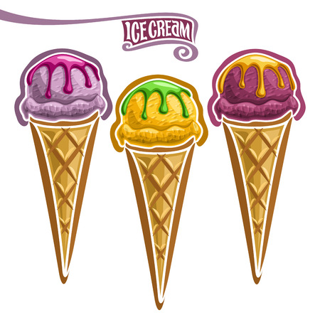 Vector set of Ice Cream in Waffle Cone: 3 wafer cones with variety of flavor ice cream isolated on white, purple yam ice cream topping of fruit syrup, blueberry sorbet ball in waffle, gelato ube dessert. Illustration