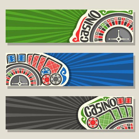 Vector set of gamble banners for Casino: 3 web headers with roulette wheel for gambling game, red backs of playing cards, blue dices for craps, poker chips on green background for text on casino theme Illustration