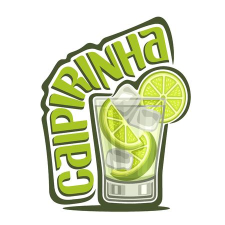 알코올 칵테일 Caipirinha의 벡터 일러스트 레이 션 : 투명 한 칵테일, 전체 유리 얇게 썬 ?? 라임, 얼음 큐브, 녹색 제목 텍스트 로고 - caipirinha, cachaca와 브