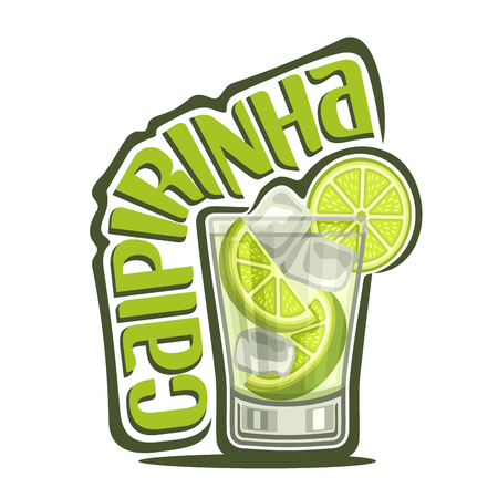 Vector illustration of alcohol Cocktail Caipirinha: full glass with transparent cocktail, sliced ??lime, cubes of ice, logo with green title text - caipirinha, brazilian national long drink with cachaca