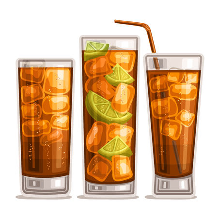 Vector set of fizzy Drinks: 3 glossy glasses with alcohol cocktail cuba libre, cubes of ice in highball with cola, sliced ??lime in long island iced tea, cold cocktail, whiskey cola with straw on white.
