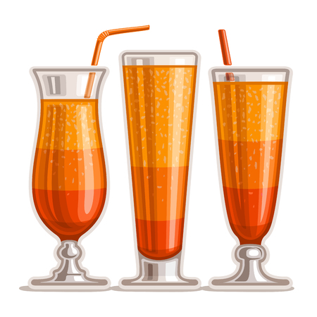 Vector set of layered Orange Cocktail: 3 shiny glasses with alcohol cocktail tequila sunrise, drink sex on the beach, fresh orange juice with pulp, cold cocktail, alabama slammer with straw on white. Ilustração