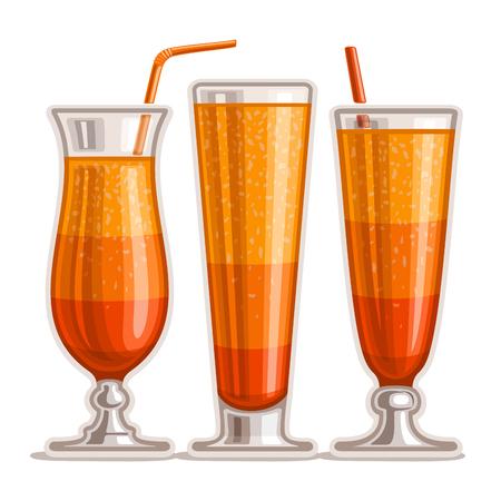 Vektor-Set geschichteten Orange Cocktail: 3 glänzende Gläser mit Alkohol Cocktail Tequila Sunrise, trinken Sex am Strand, frisch gepresster Orangensaft mit Pulpa, kaltem Cocktail, Alabama Slammer mit Stroh auf weiß. Standard-Bild - 85122482
