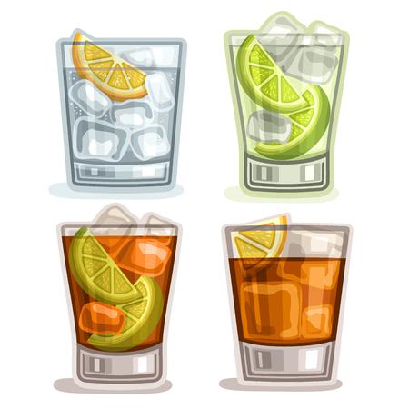 Vector conjunto de bebidas cortas: 4 vasos con alcohol cóctel gin tonic, caipirinha o mojito beber, cuba libre, de moda o larga isla helado de cócteles de té, whisky con cubitos de hielo, limonada gaseosa. Ilustración de vector