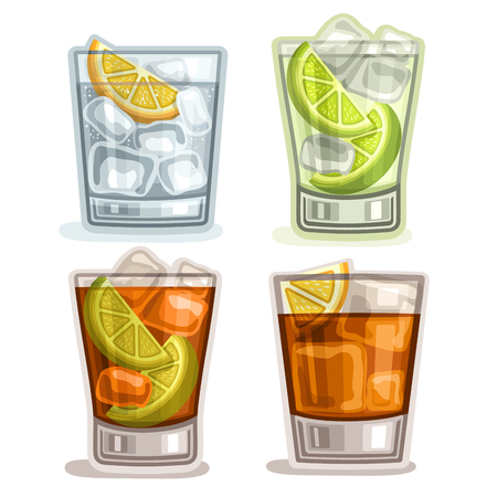 Vector set of short Drinks: 4 glasses with alcohol cocktail gin tonic, caipirinha or mojito drink, cuba libre, old fashioned or long island iced tea cocktails, whiskey with ice cubes, fizzy lemonade.