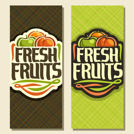 Vector vertical banners for set Fresh fruit: juicy orange, green apple, sweet peach, decorative fruit logo, sign with original type font for text fresh fruits on geometric background for grocery shop