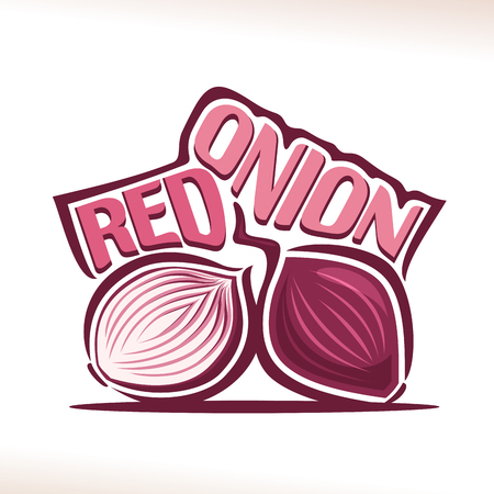 Vector logo for fresh Red Onion: label with cut half and whole sweet shallot bulbs, still life with original decorative font for purple title red onion, poster with farming vegetable on white background