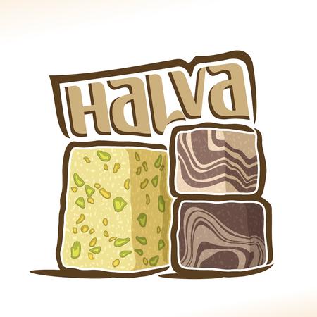 Vector logo for turkish Halva confection, heap of 3 sliced ??cubes with pistachio nut & layered chocolate tahini oriental dessert, original typography font for word halva, greek halvah with choco flavor