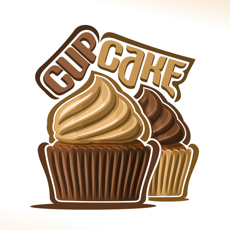 Icon of chocolate cupcake with swirl whipped cream.