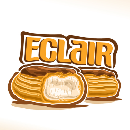 Vector french eclair poster with cut dessert and custard cream and chocolate glaze.