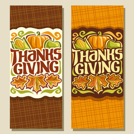Vector vertical banners for thanksgiving day autumn greeting vector vector vertical banners for thanksgiving day autumn greeting card for thanksgiving holiday original handwritten font for text thanksgiving m4hsunfo