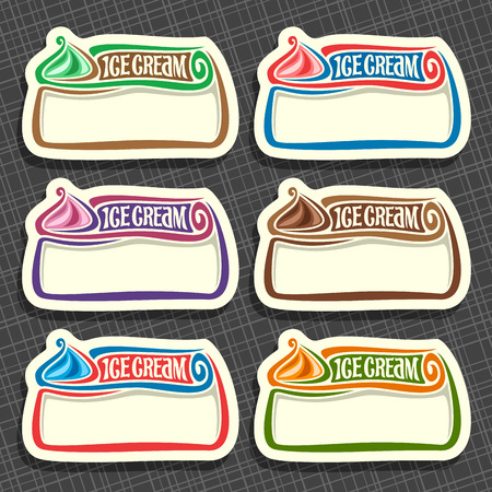 Vector set of Ice Cream Labels: 6 price tags with copy space for ice cream sale info, colorful vintage signs with lettering title - ice cream with white blank background, icons for cold italian gelato