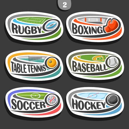 Vecteur série de badges simples ovales sport avec ballon volant sur trajectoire courbe, signes sportifs de conception minimale avec des jeux, typographie originale pour les mots de type de sport différent Banque d'images - 88299576