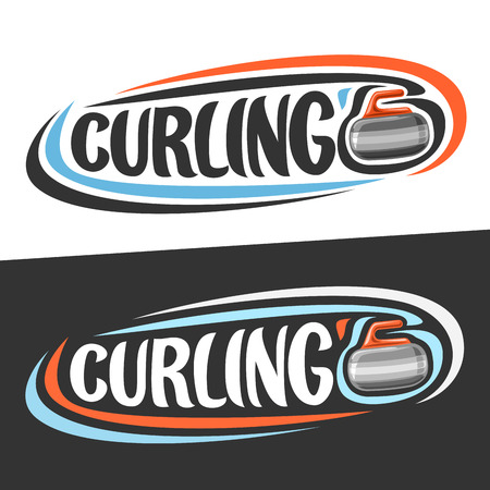 Vector logos for Curling sport, sliding rock with the handle and handwritten word - curling on black, curved lines.