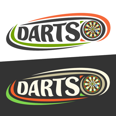 A vector icon for darts game. Arrow in bull's eye on board and handwritten word - darts on black, curved lines around original typography for text - darts on white background, sports drawn decoration.