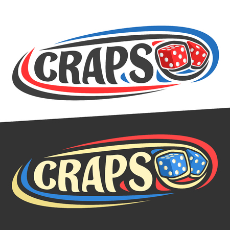 Vector logo for Craps gamble, flying on trajectory playing red dice cubes and handwritten word - craps on black, curved lines.