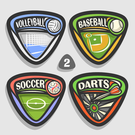 Vector set of sport logos, 4 triangle simple badges with balls, sports signs of minimal design with the equipment for sporting club or school, original type for title