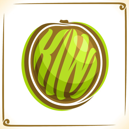 Vector logo for Kiwi Fruit, label with one whole fruit for a pack of kiwifruit juice or dessert, price tag with original font for word kiwi fruit, sticker for vegan grocery store. Illustration