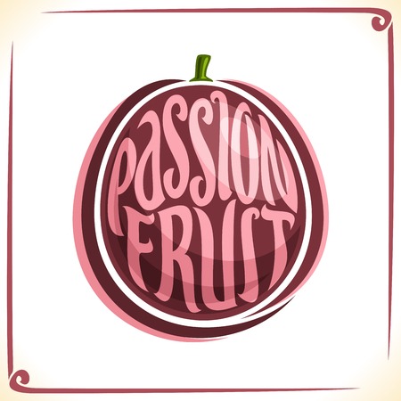 Vector logo for Passion Fruit, label with one whole fruit for a package of fresh fruit oranges, dessert, price tag.