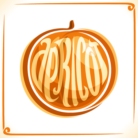 Vector logo for Apricot, label with one whole fruit for a pack of fresh juice or candy, sticker for a vegan grocery store Illustration