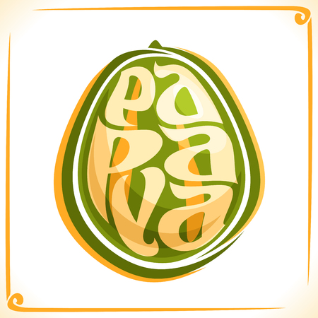 inscribed: Vector logo for Papaya, label with one whole pawpaw fruit for package of fresh juice or dessert, price tag with original font for word papaya inscribed in fruit form, sticker for vegan grocery store.