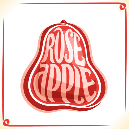 Vector logo for Rose Apple, label with one whole fruit for package of fresh juice or exotic dessert, price tag with original font for word. Illustration