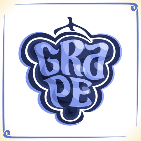 inscribed: Vector logo for blue Grape, label with drawn grapevine bunch for package of fresh juice or wine, price tag with original font for word grape inscribed in fruit shape, sticker for vegan grocery store.