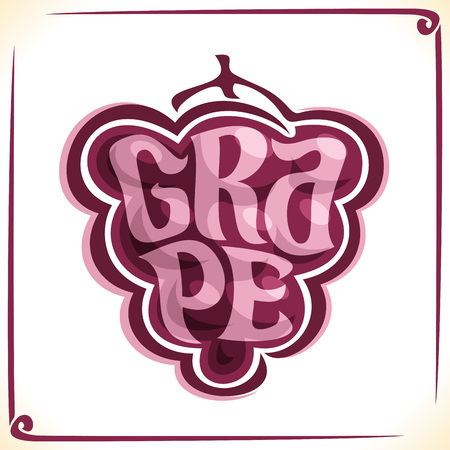 Vector logo for red grape, label with drawn grapevine bunch for package of fresh juice or wine, price tag with original font for word grape.