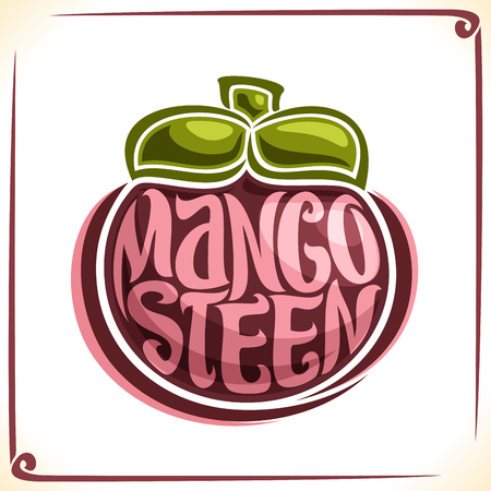 Vector logo for Mangosteen, label with one whole fruit for the package of thai exotic dessert, price tag with the original font for the word mangosteen inscribed in the fruit shape, sticker for the vegan grocery store.