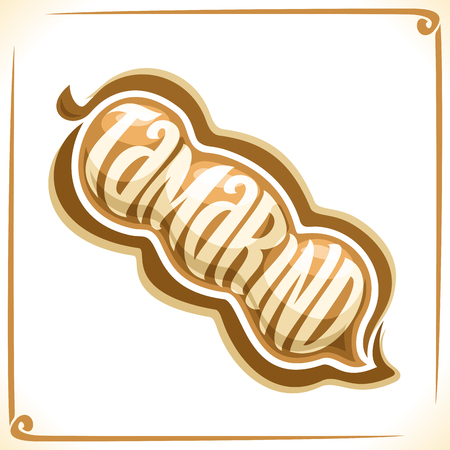inscribed: Vector logo for Tamarind, tag with one whole pod for package of fresh juice or thai, exotic dessert, price tag with original font for word tamarind inscribed in fruit shape, sticker for vegan store.