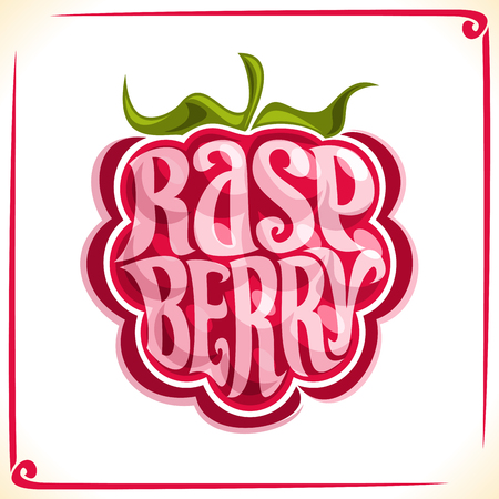 Vector logo for Raspberry, label with whole berry for package of fresh juice or ice cream, price tag with original font for word raspberry inscription in vegan grocery store Illustration