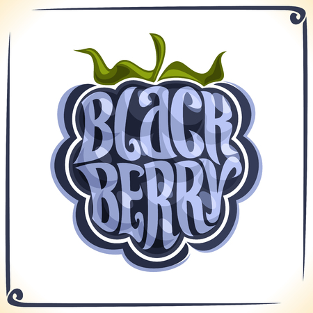 Vector logo for Blackberry, label with a whole berry for a package of fresh or ice cream.