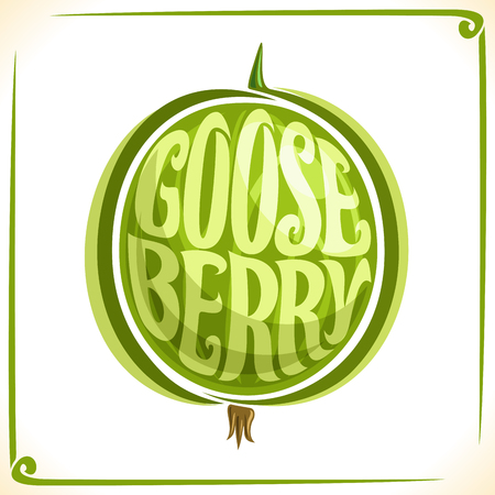 veg: Vector logo for Green Gooseberry, label with whole berry for package of fresh juice or ice cream, price tag with original font for word gooseberry