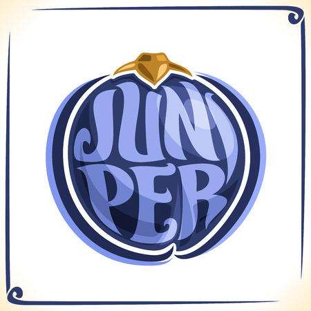 inscribed: Vector logo for juniper, label with one whole juniperus communis berry for package of gin drink, price tag with original font for word juniper inscribed in fruit form, sticker for vegan grocery store Illustration