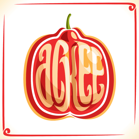 inscribed: Vector logo for Ackee Fruit, label with one whole blighia sapida for package of fresh ice cream, price tag with original font for word ackee inscribed in fruit shape, sticker for vegan grocery store. Illustration
