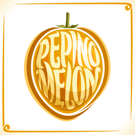 Vector logo for Pepino Melon, label with one fruit for a package of freshly baked pepper, isolated on a white background.
