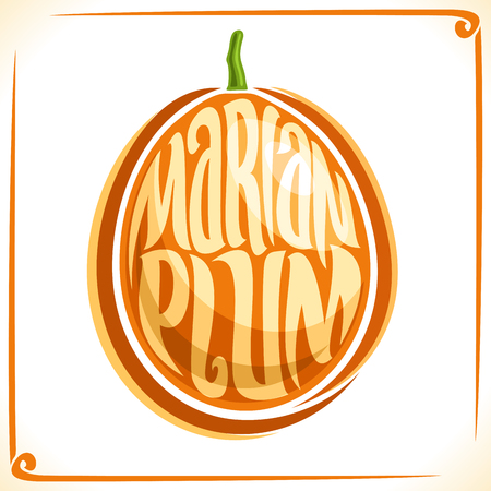 veg: Vector logo for Marian Plum, label with one maprang for package of fresh juice or ice cream, price tag with original font for words marian plum. Illustration