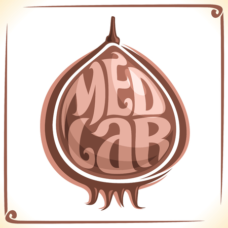 inscribed: Vector logo for Medlar Fruit, label with one mespilus for package of fresh juice or ice cream, price tag with original font for word medlar inscribed in fruit shape, sticker for vegan grocery store.